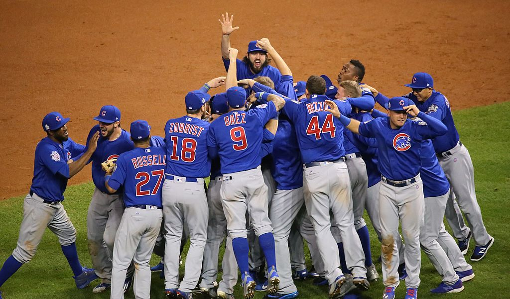 The Chicago Cubs celebrate the winning of 2016 World Series