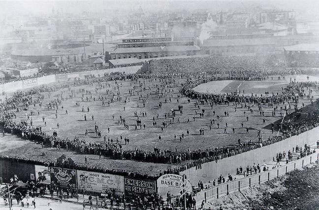 Rooftop view of a 1903 World Series game in Boston