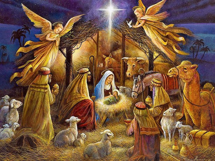 Angels appear to Mary and Joseph on Jesus' birth