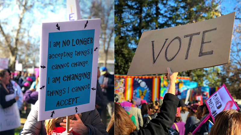 protest, women's rights, signs, register to vote, voter's rights