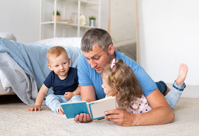 father, kids, baby, reading, bedtime