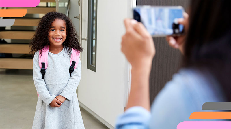 back to school, smiling girl, proud parent, pictures, smartphone