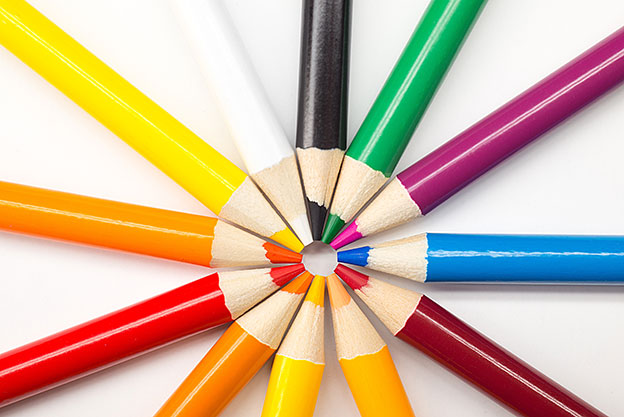 Rounded colorful Pencils